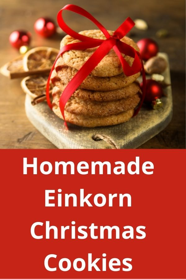Einkorn Christmas Cookies tied with red ribbon