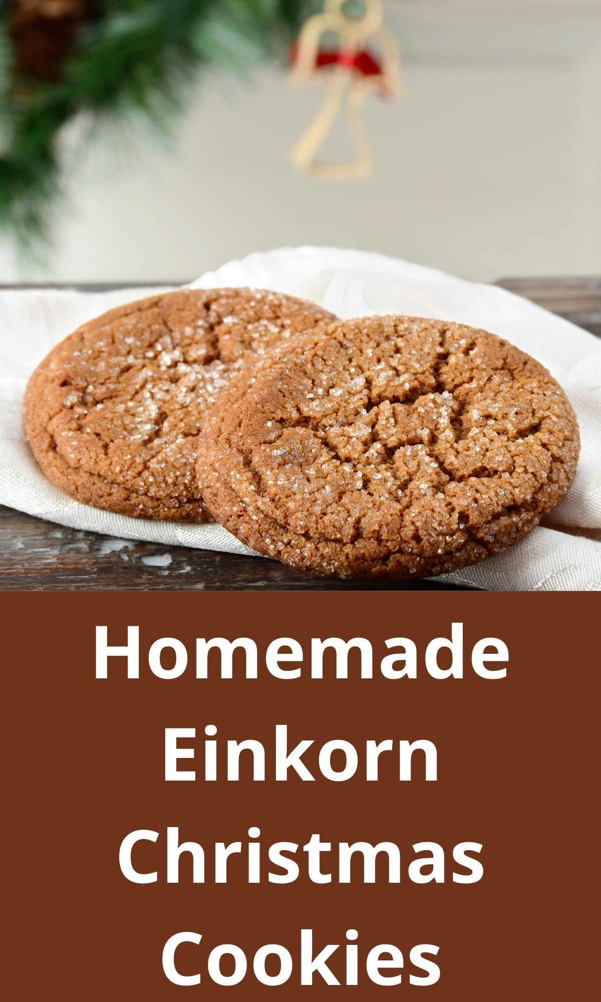 Einkorn Christmas cookies on a white plate for PIN