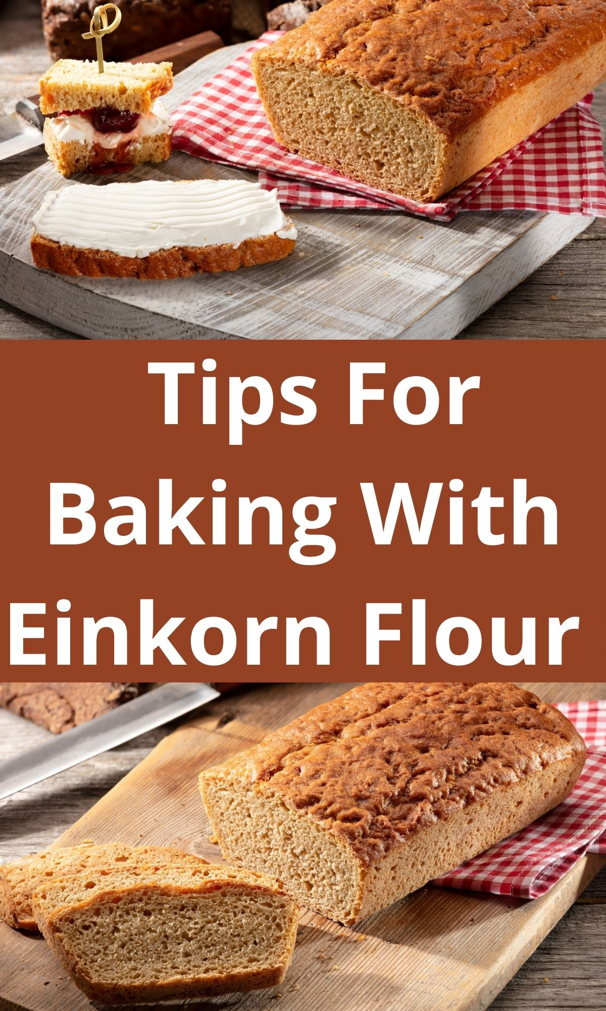 Einkorn flour bread with one piece sliced and buttered for PIN