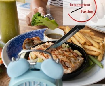 chicken, fries, brocolli and a clock for intermittent fasting