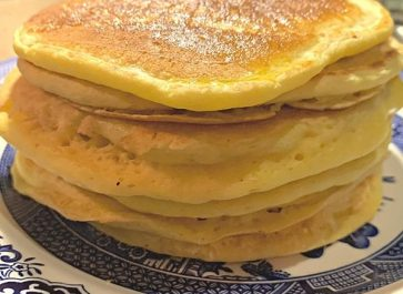 light and fluffy einkorn pancakes buttered