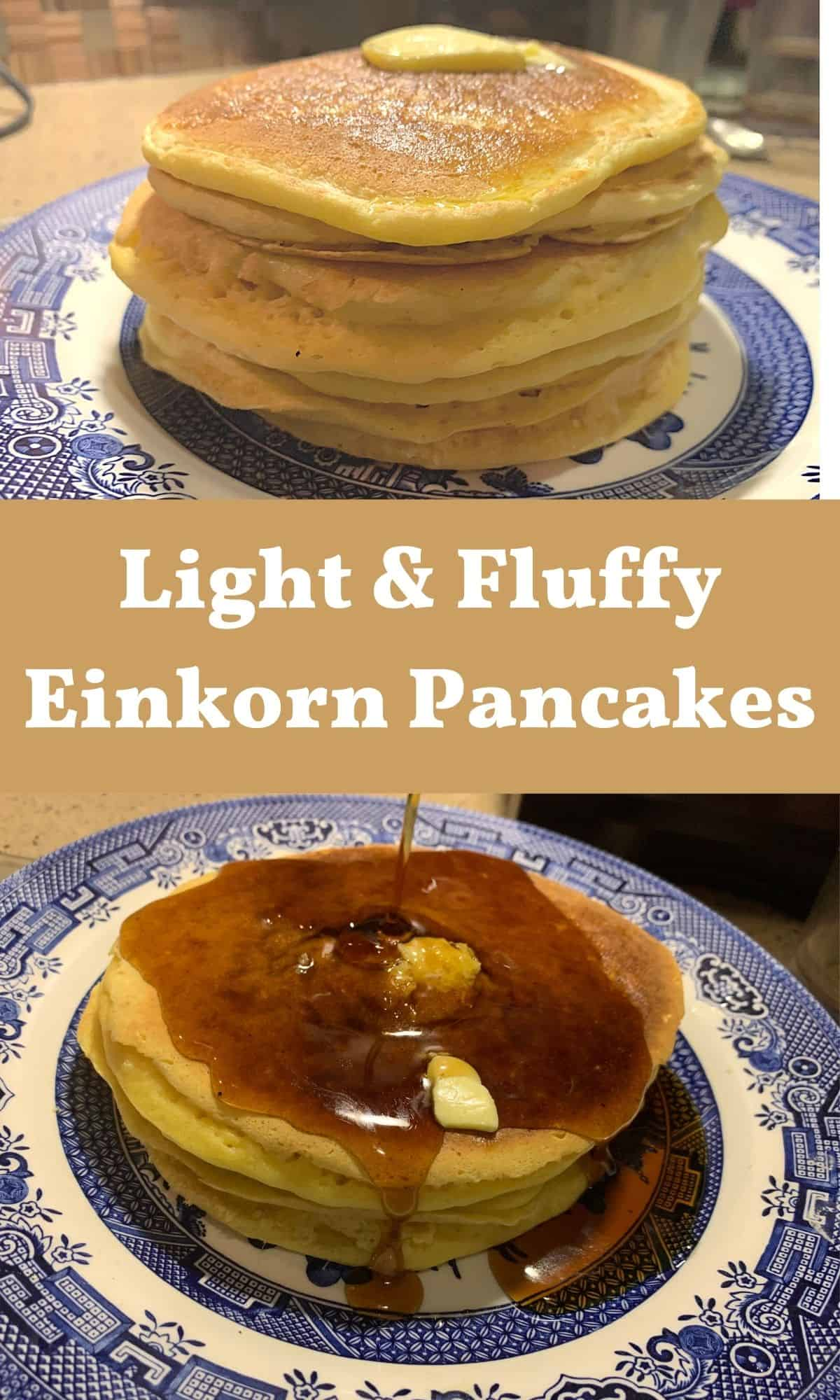stack of einkorn pancakes and with syrup on blue willow plate for PIN