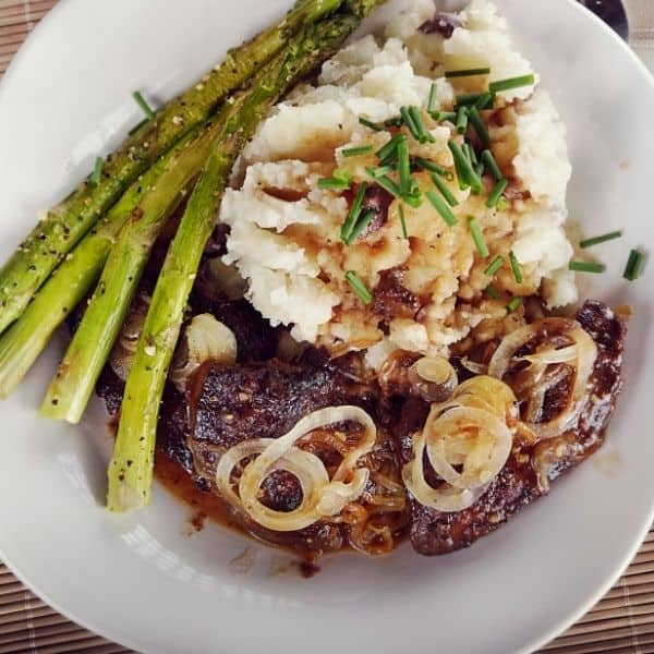 live and onions recipes with asparagus and mashed potatoes