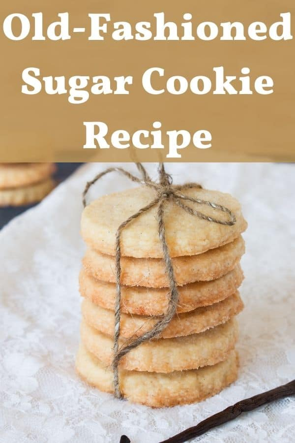 old fashioned sugar cookies tied in a stack with string made from sugar cookie recipe